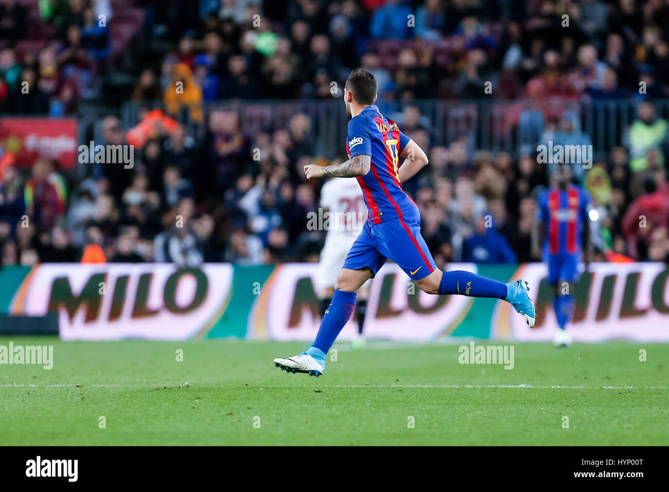 April 5, 2017: Paco Alcacer during the match between FC Barcelona vs Sevilla, for the round 30 of the Liga Santander, - Stock Image