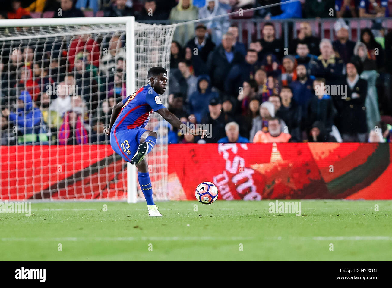 April 5, 2017: Samuel Umtiti during the match between FC Barcelona vs Sevilla, for the round 30 of the Liga Santander, - Stock Image