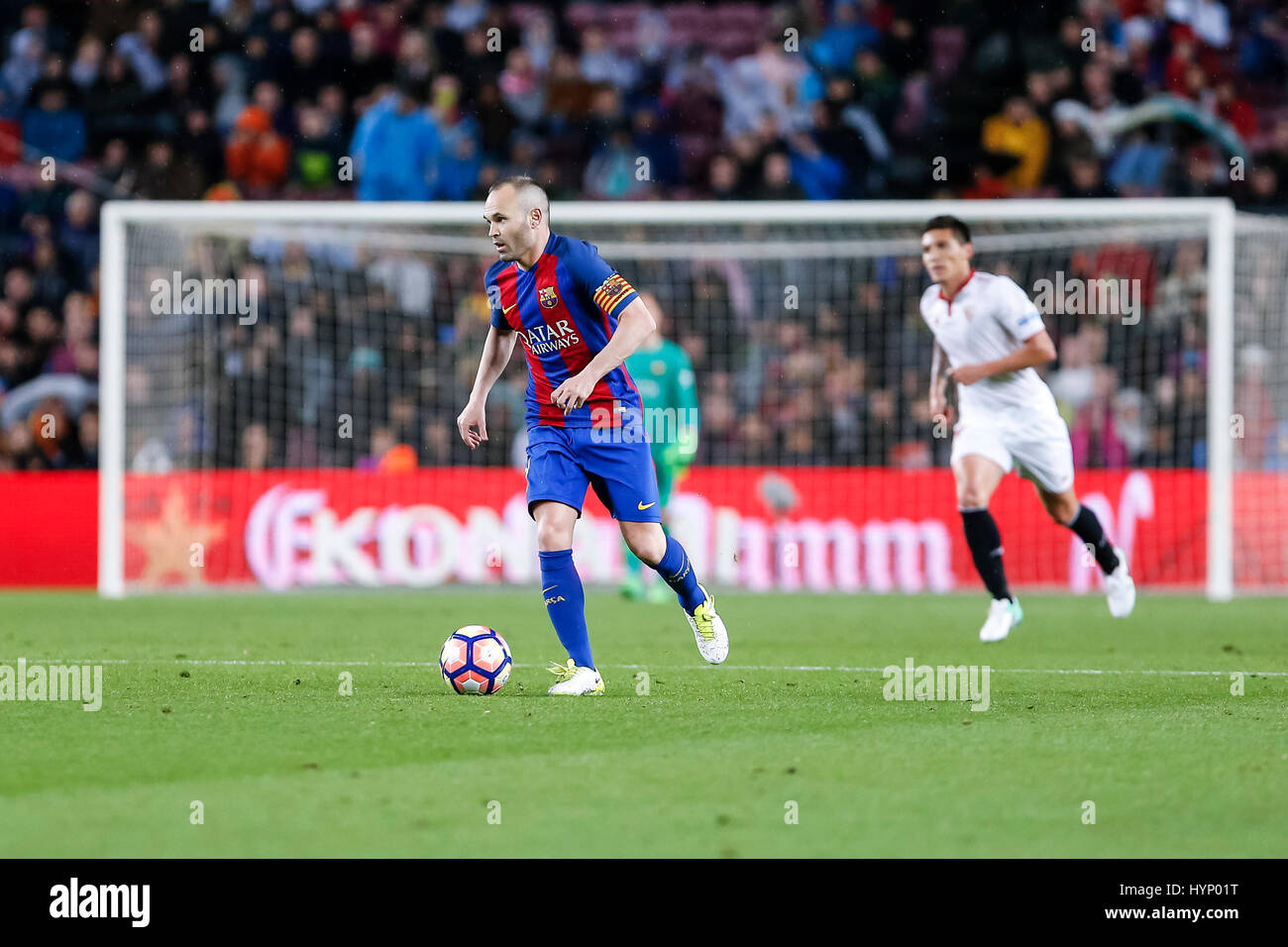 April 5, 2017: Andres Iniesta during the match between FC Barcelona vs Sevilla, for the round 30 of the Liga Santander, - Stock Image