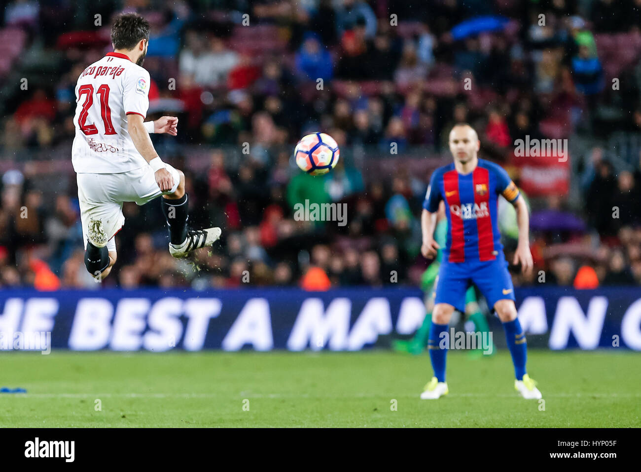 April 5, 2017: Nico Pareja during the match between FC Barcelona vs Sevilla, for the round 30 of the Liga Santander, - Stock Image