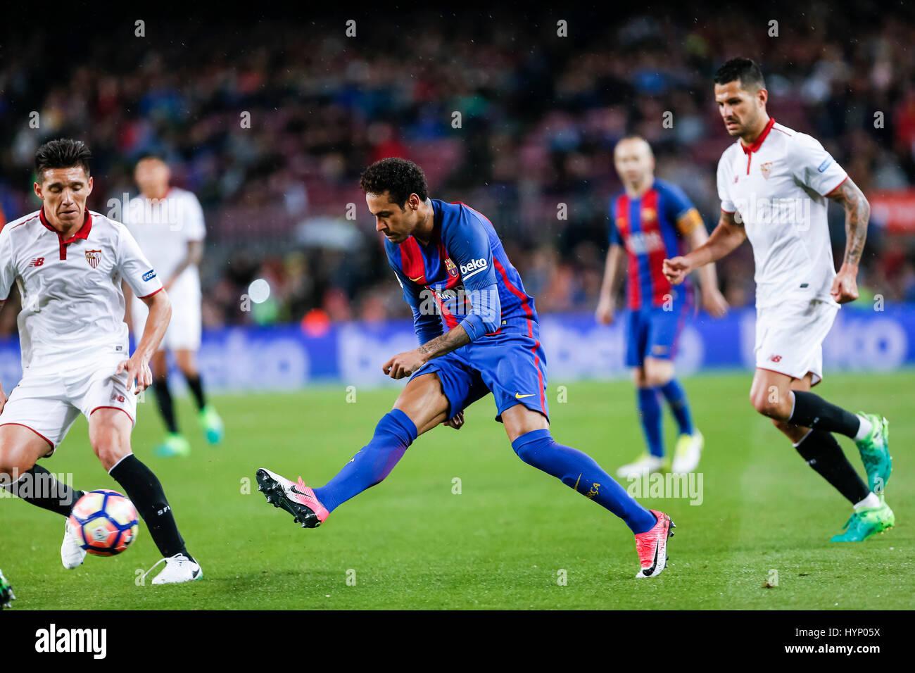 April 5, 2017: Neymar jr during the match between FC Barcelona vs Sevilla, for the round 30 of the Liga Santander, - Stock Image