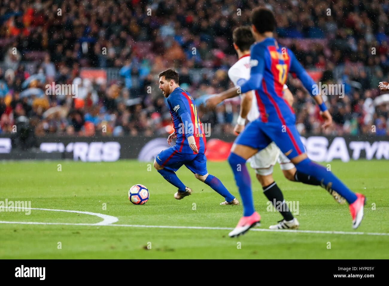 April 5, 2017: Leo Messi during the match between FC Barcelona vs Sevilla, for the round 30 of the Liga Santander, - Stock Image