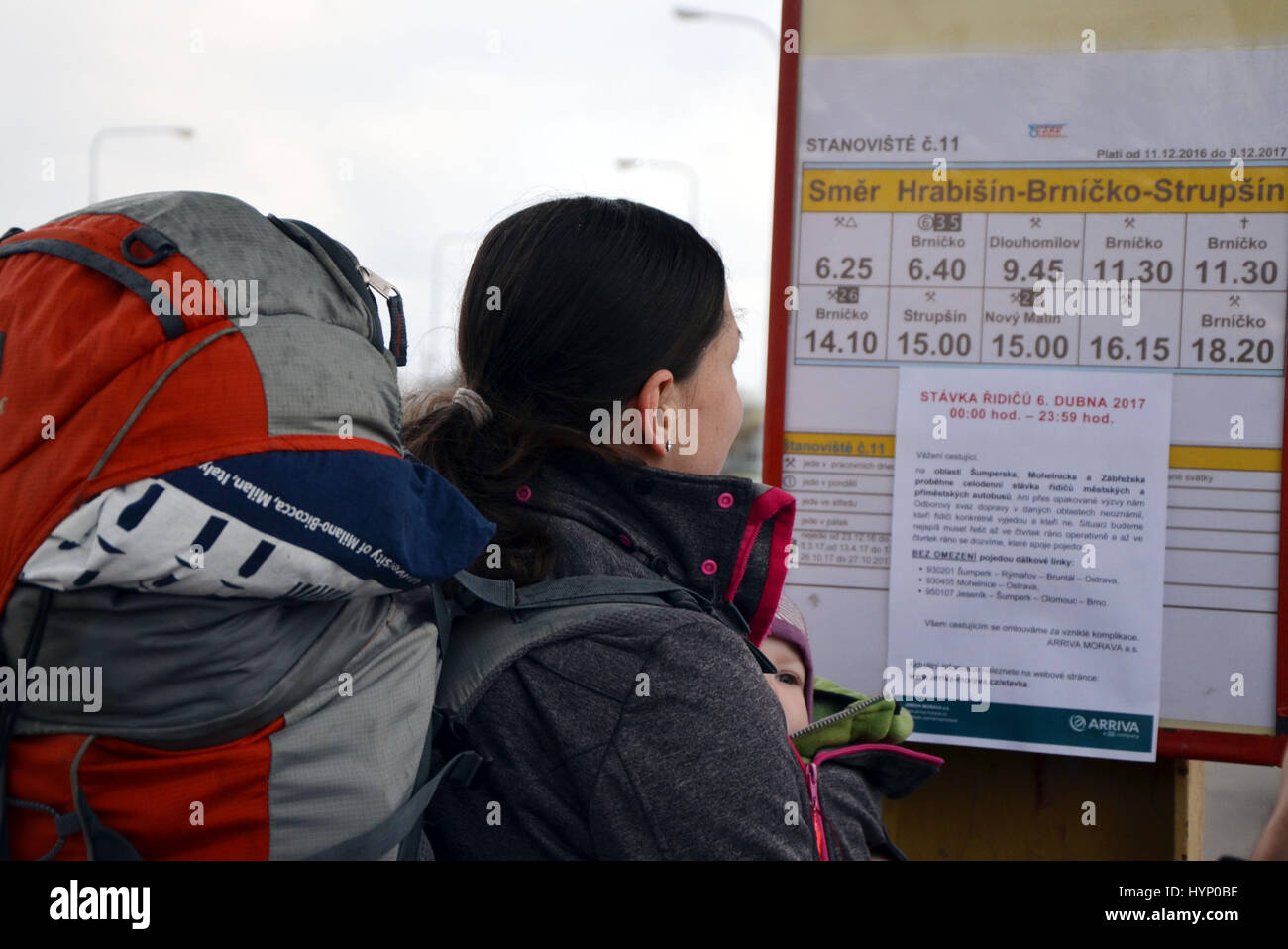 Sumperk, Czech Republic. 06th Apr, 2017. Strike of bus drivers in regular transport in regions due to low wages - Stock Image