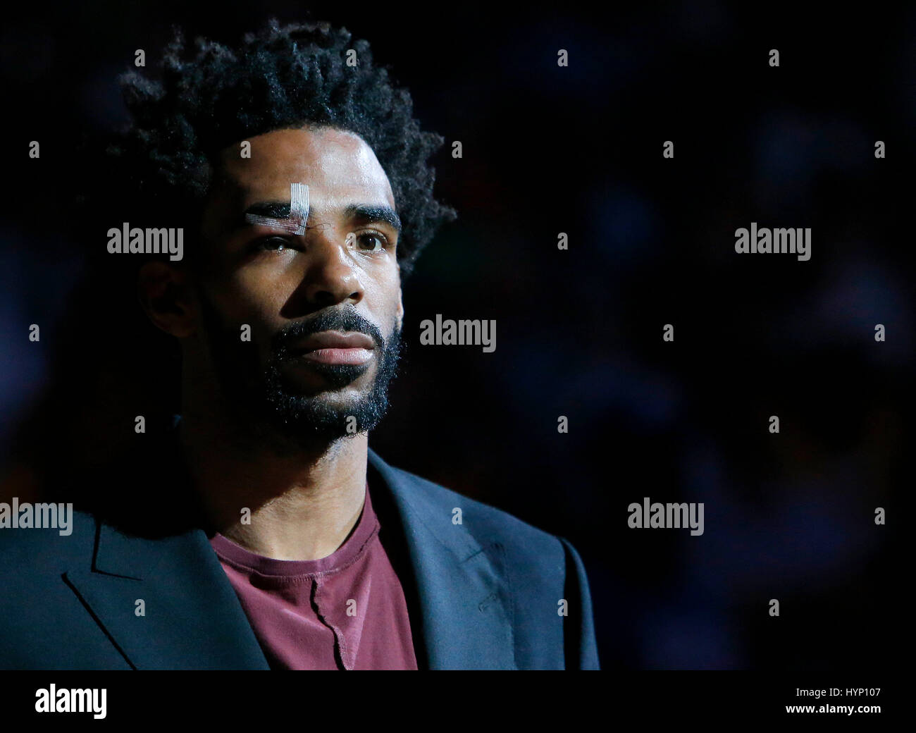 Memphis Grizzlies guard Mike Conley watches player introduction before the game against Oklahoma City Thunder at - Stock Image