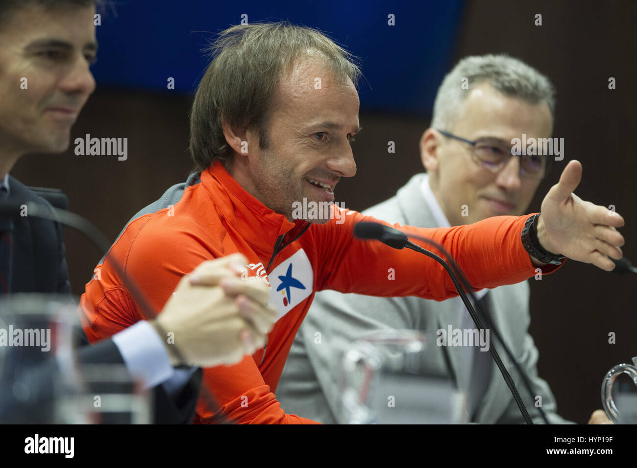 Spanish alpinist Ferran Latorre speaks during the presentation of his next ascent to the Mount Everest, in Barcelona, - Stock Image