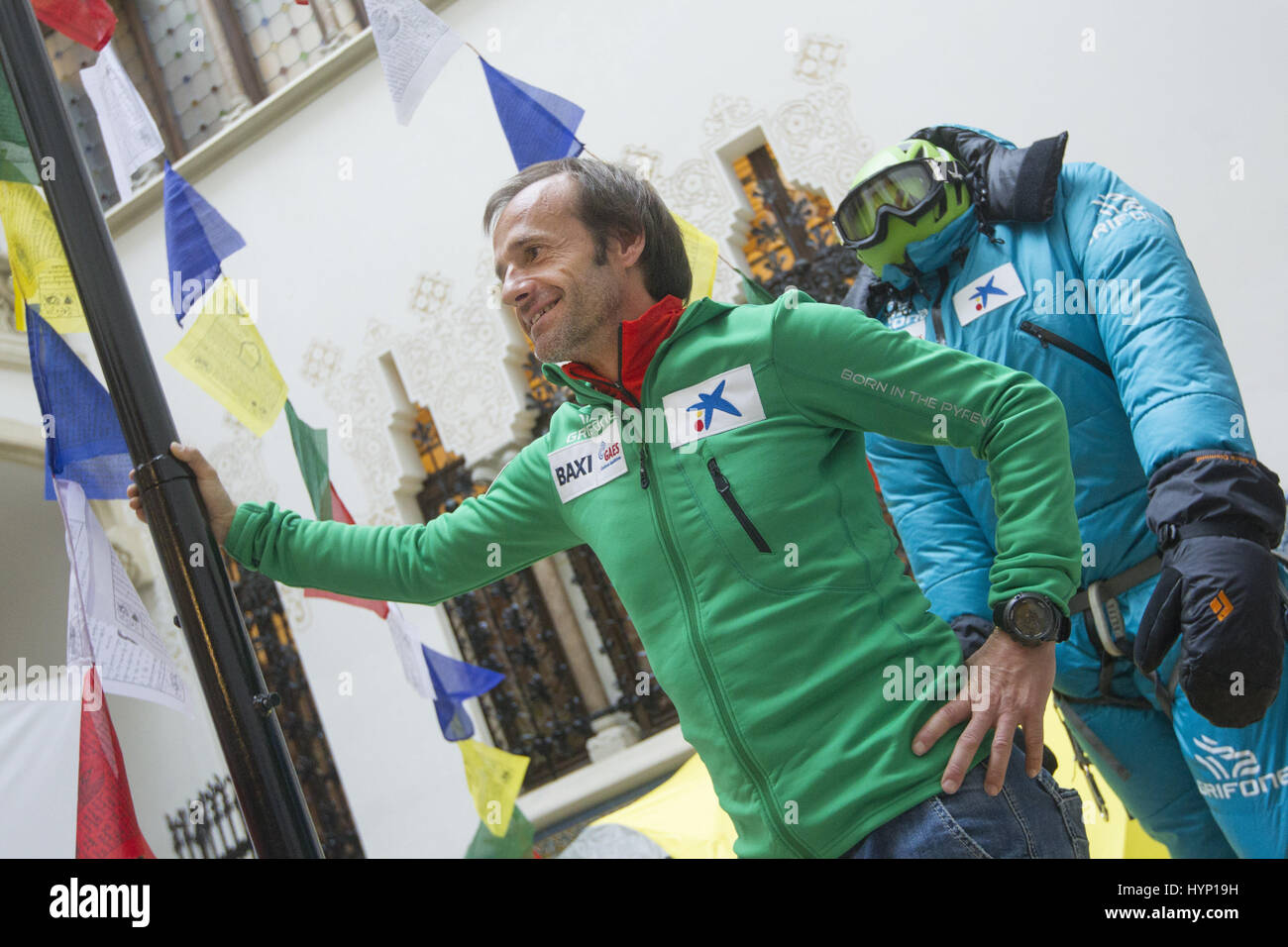 Spanish alpinist Ferran Latorre poses during the presentation of his next ascent to the Mount Everest, in Barcelona, - Stock Image