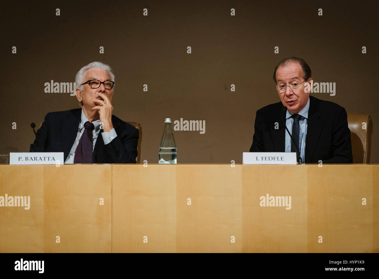 Rome, Italy. 06th Apr, 2017. Ivan Fedele talks during the presentation conference of the Dance, Theater and Music - Stock Image