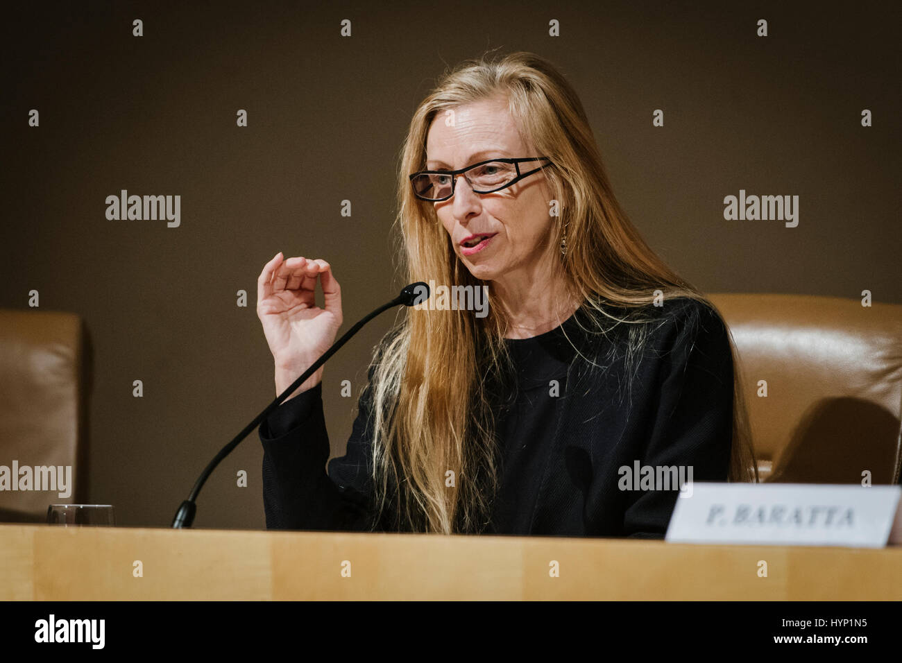 Rome, Italy. 06th Apr, 2017. Marie Chouinard talks during the presentation conference of the Dance, Theater and - Stock Image