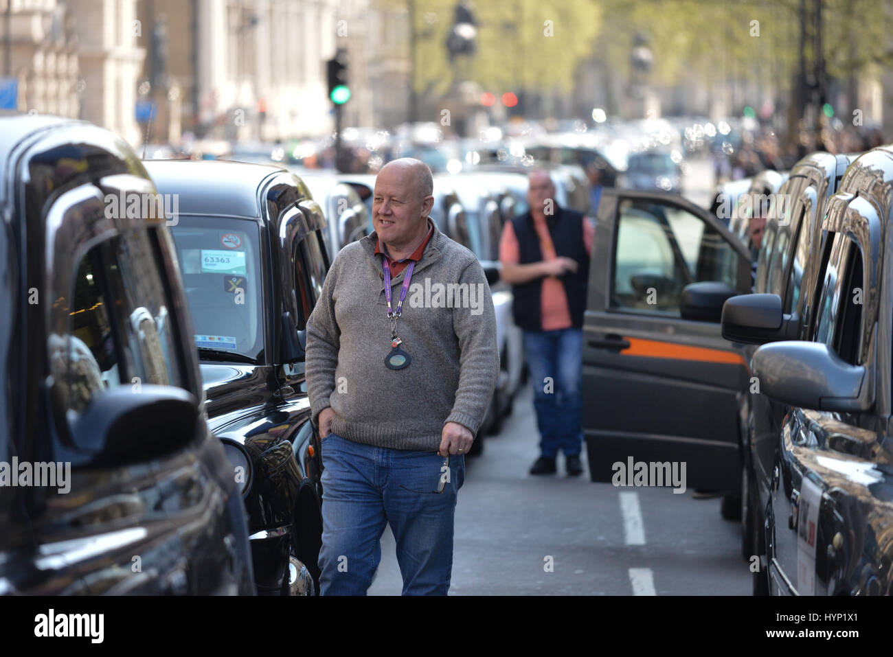 Westminster, London, UK. 6th April 2017. London cab drivers stage a demonstration in Westminster over Uber. Credit: Stock Photo