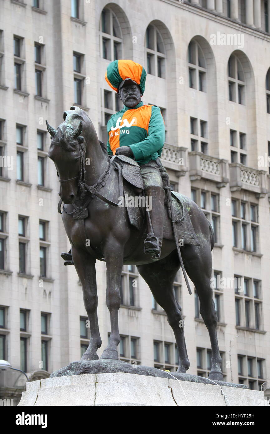 Liverpool, UK. 6th Apr, 2017. King Edward VII monument at pier head Liverpool decked out in jockey racing colours Stock Photo