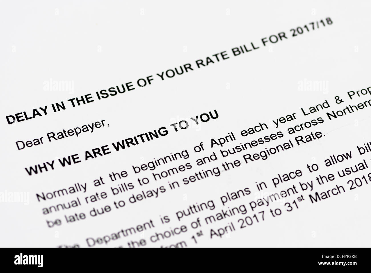 Northern Ireland. 06 APR 2017 - Letters arrive at properties across Northern Ireland advising of a delay in issuing - Stock Image