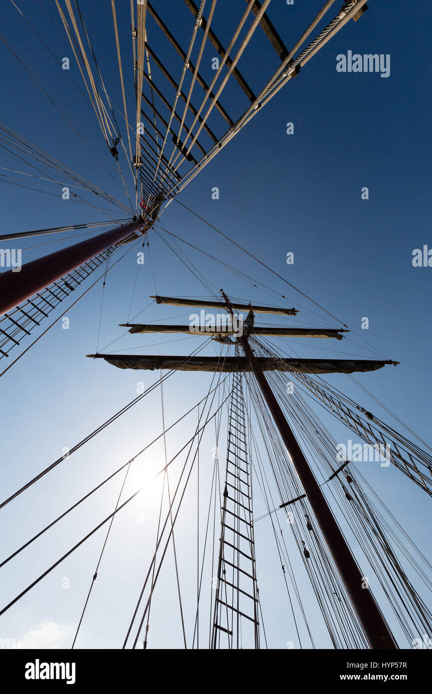 Woolwich, London, UK. 6th April 2017. Masts of the first tall ship to arrive in Woolwich, The J. R. Tolkien - which - Stock Image