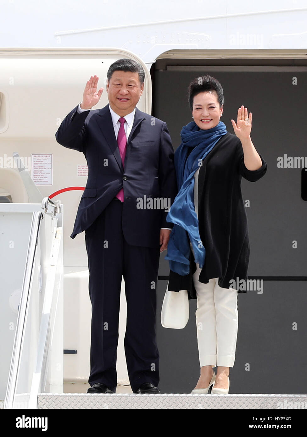 Palm Beach, USA. 6th Apr, 2017. Chinese President Xi Jinping and his wife Peng Liyuan arrive at Palm Beach International - Stock Image