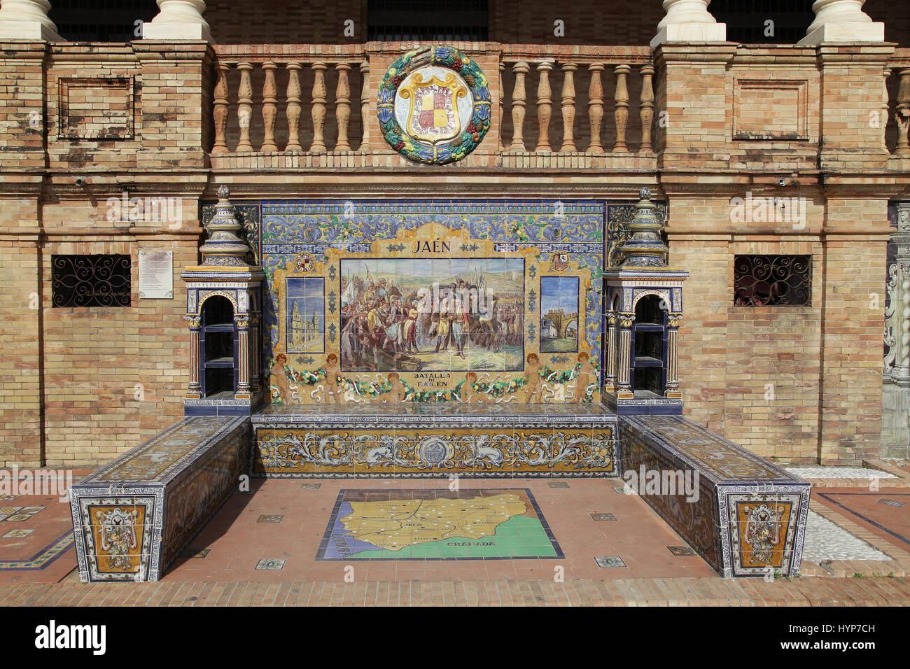 Ceramic Azulejos tiled provincial Bench or Alcove of Jaen on the Plaza de España in Parque de Maria Luisa Seville - Stock Image