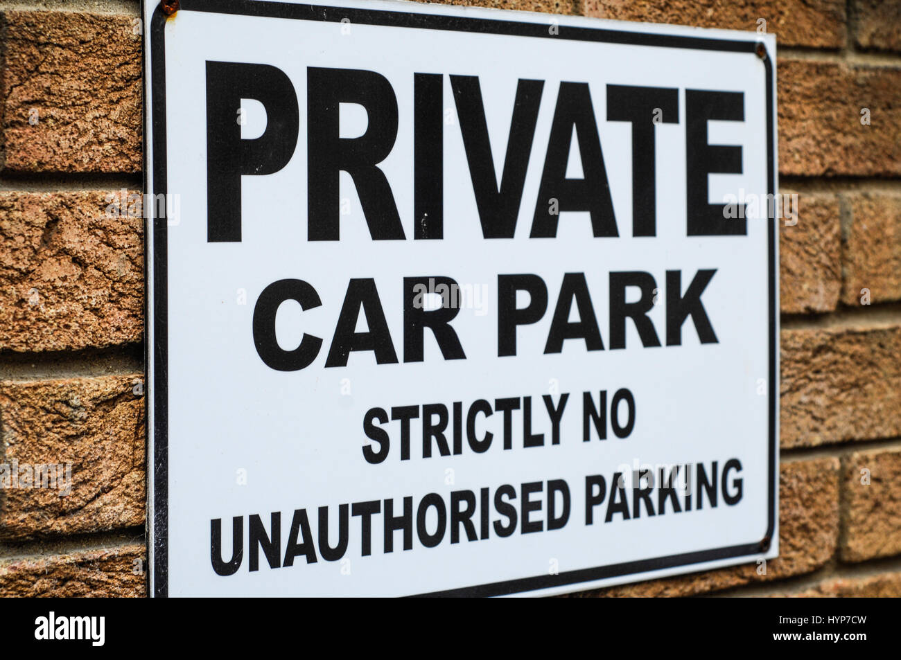 Private car park sign in cambridge England UK - Stock Image