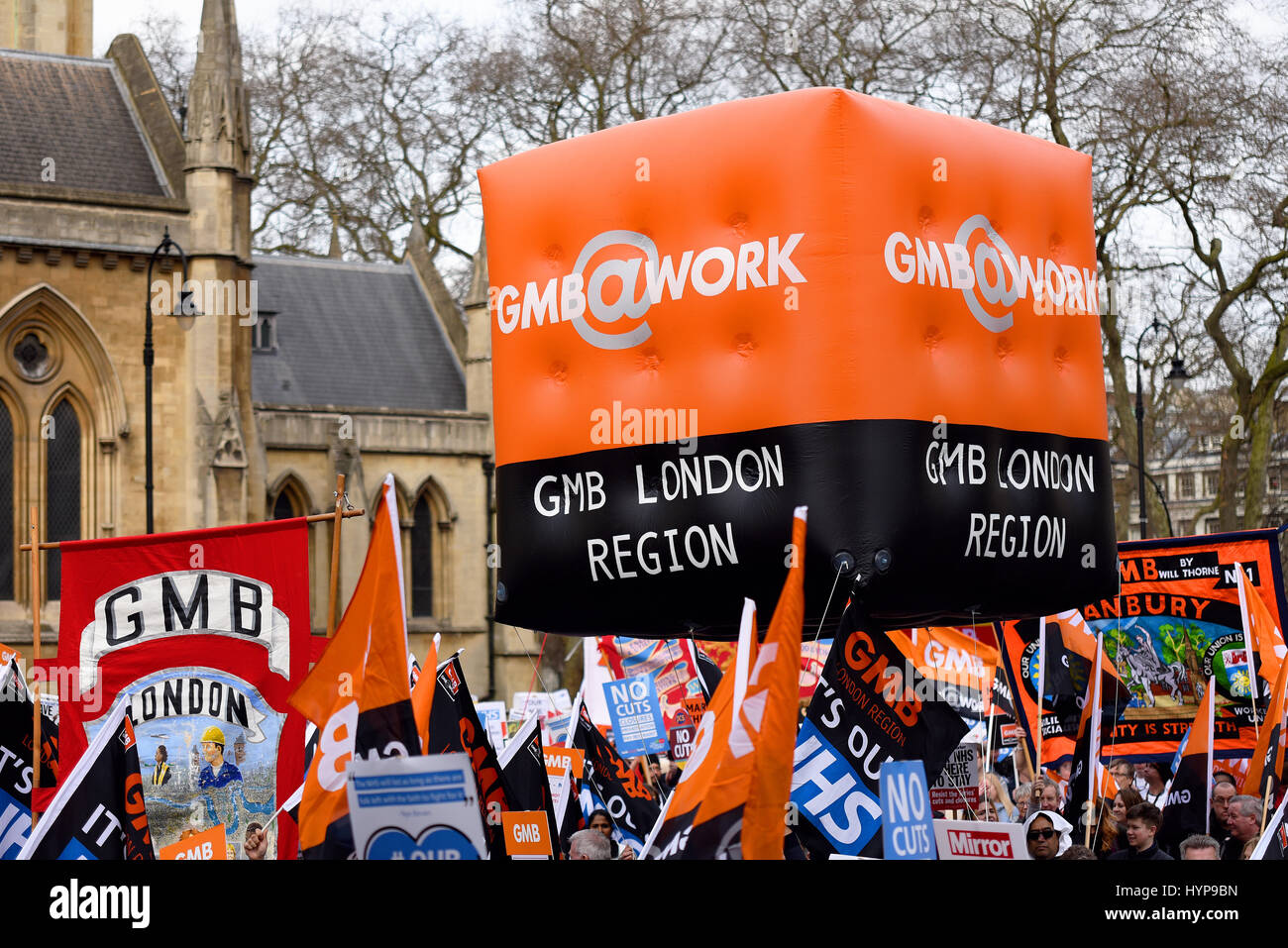 GMB union London Region inflatable balloon during the 'Our NHS' support for the National Health Service - Stock Image