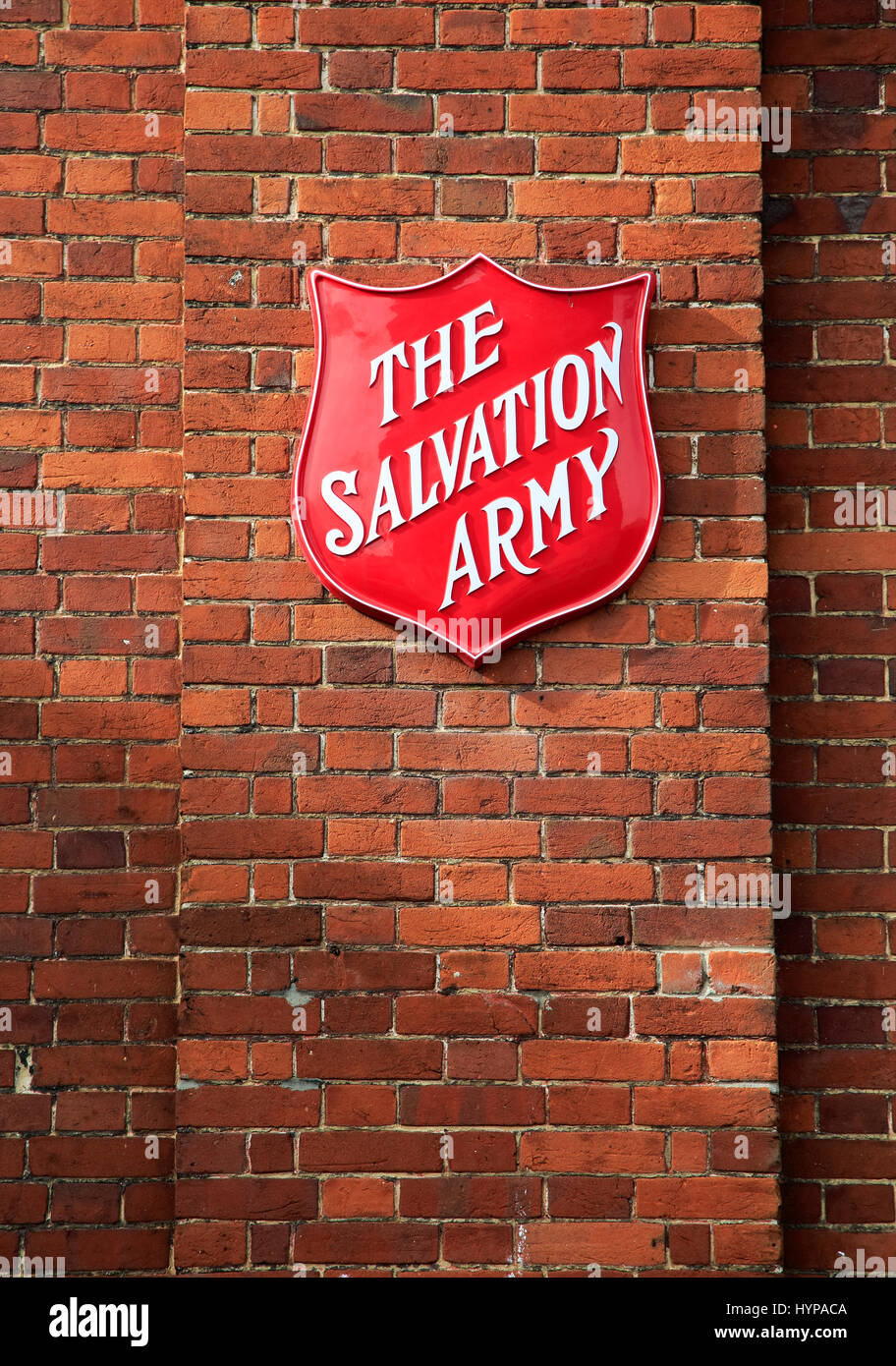 Salvation Army sign on brick wall,  Andover, Hampshire, England - Stock Image
