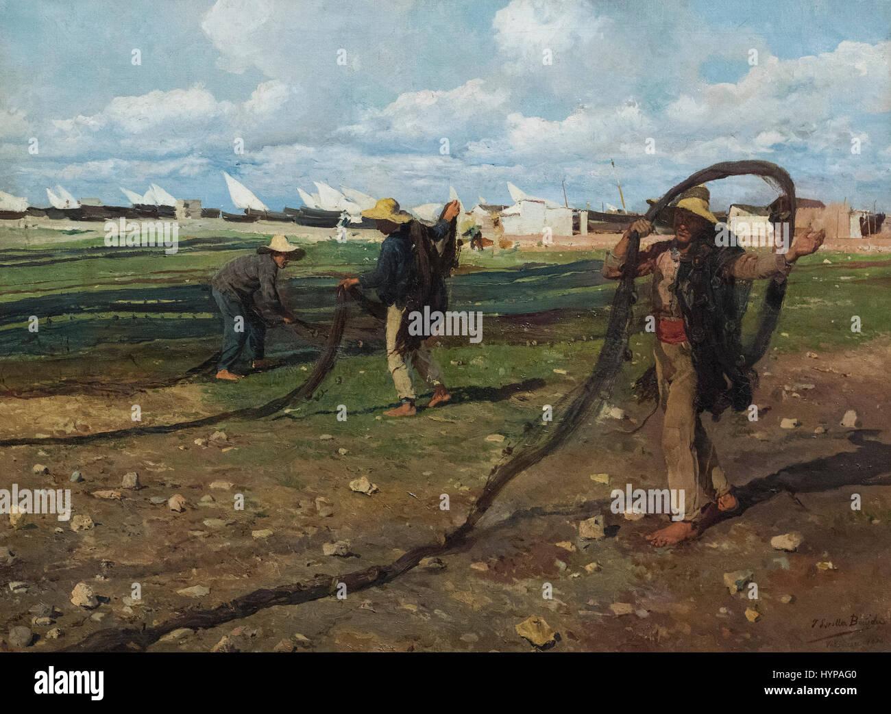 Joaquín Sorolla y Bastida (1863–1923), Hauling in the Nets, 1896. Ritirando le reti. Los pescadores con sus - Stock Image