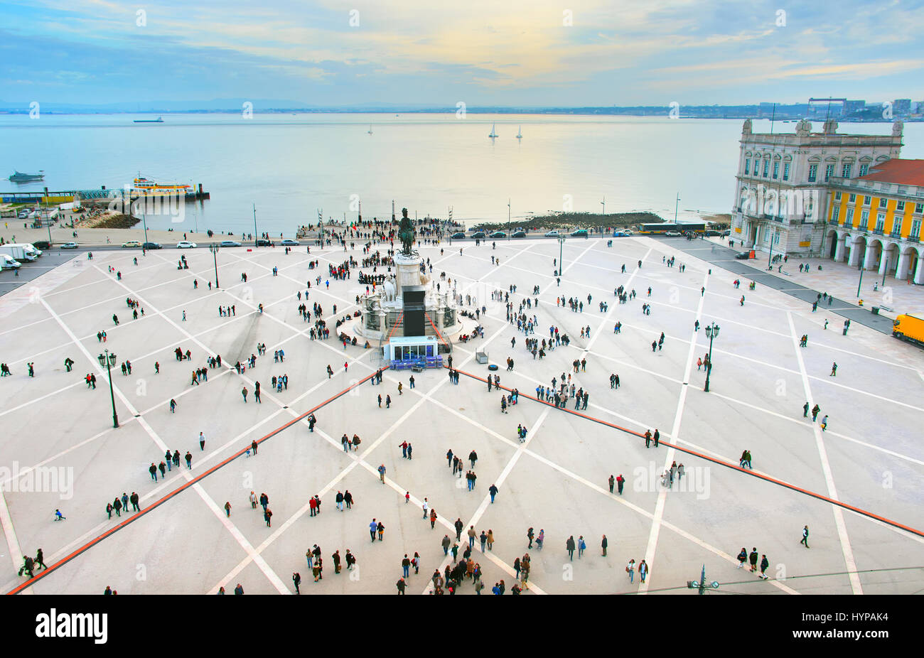 Aerial view of Commercial square. Lisbon, Portugal - Stock Image