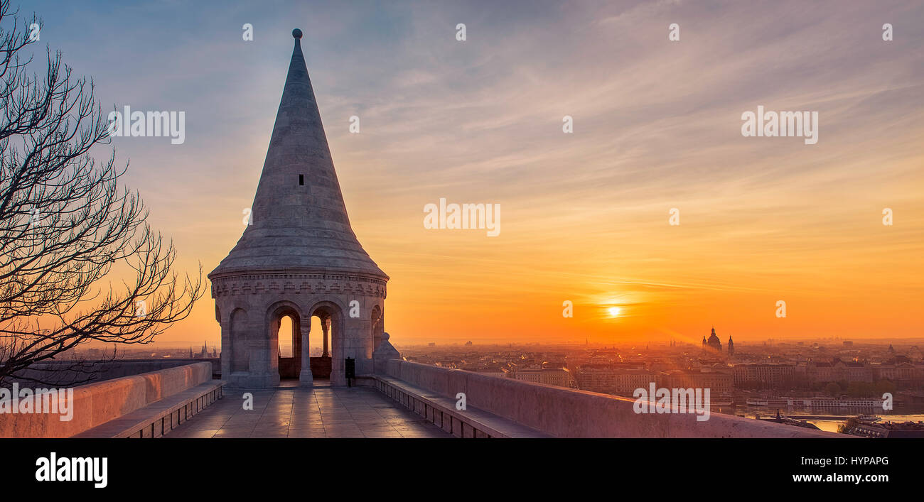 View from Fishermans bastion, a major landmark in Budapest, at dawn. - Stock Image