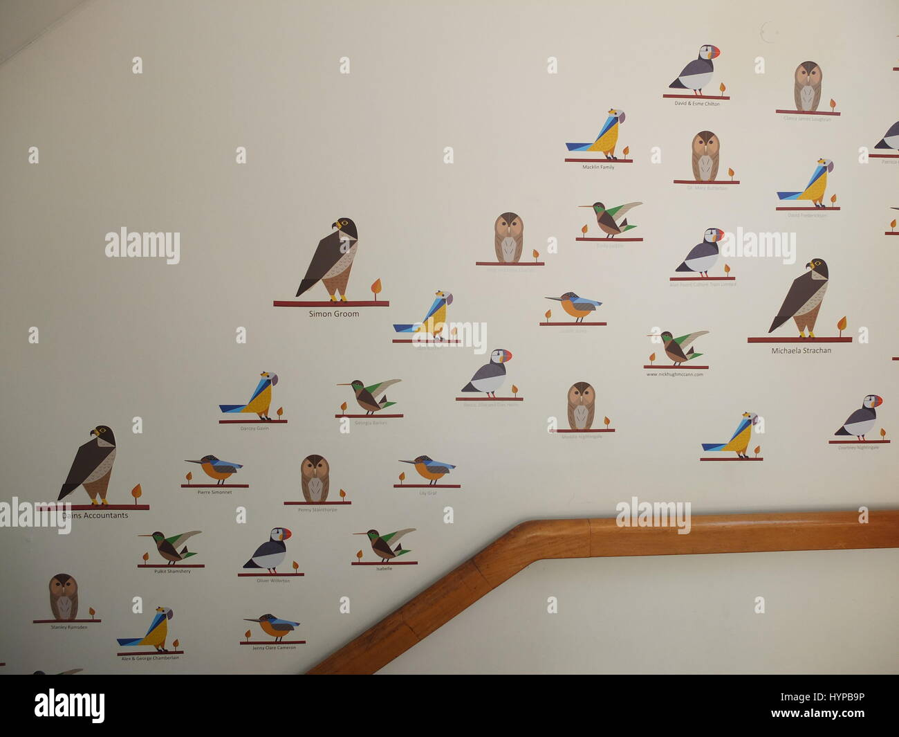 A sponsorship scheme at Derby Museum where visitors can buy a bird with their name on - celebrity sponsors include - Stock Image