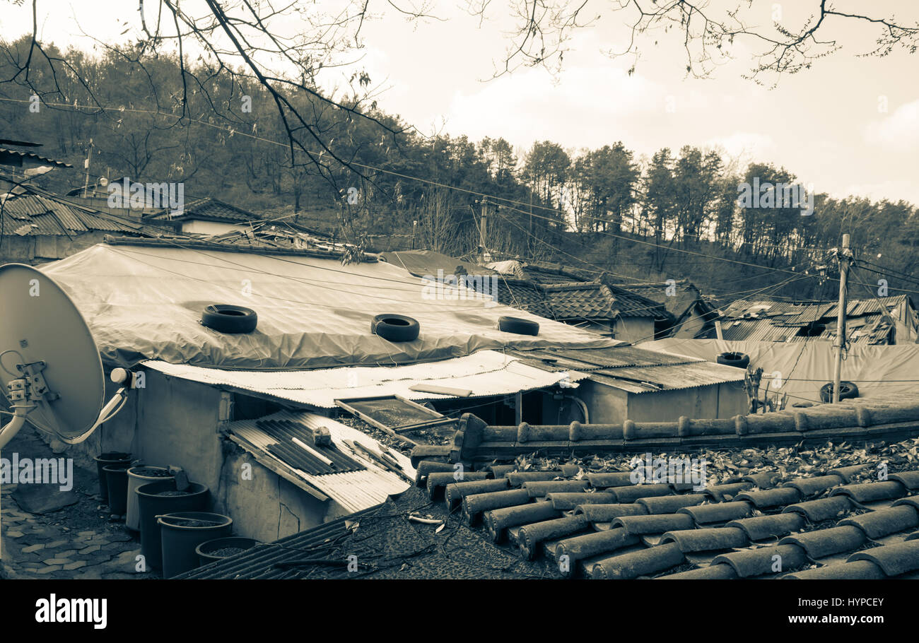 View of the last poor hillside village called Baeksa Village(104 town or 104 village) in Seoul, Korea. - Stock Image