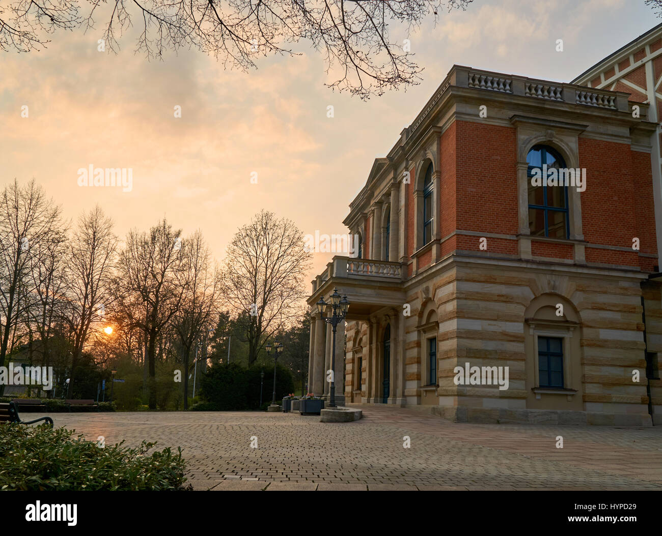 Bayreuth Wagner Festival Theatre in the sunset - Stock Image