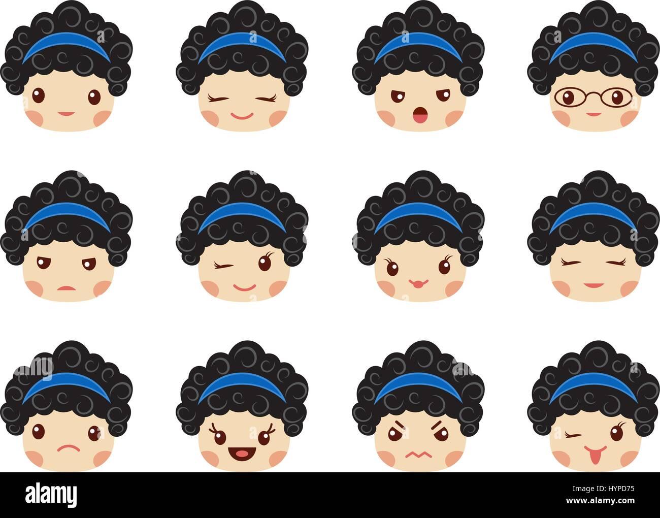 Emoji set of girls, avatar collection - Stock Image