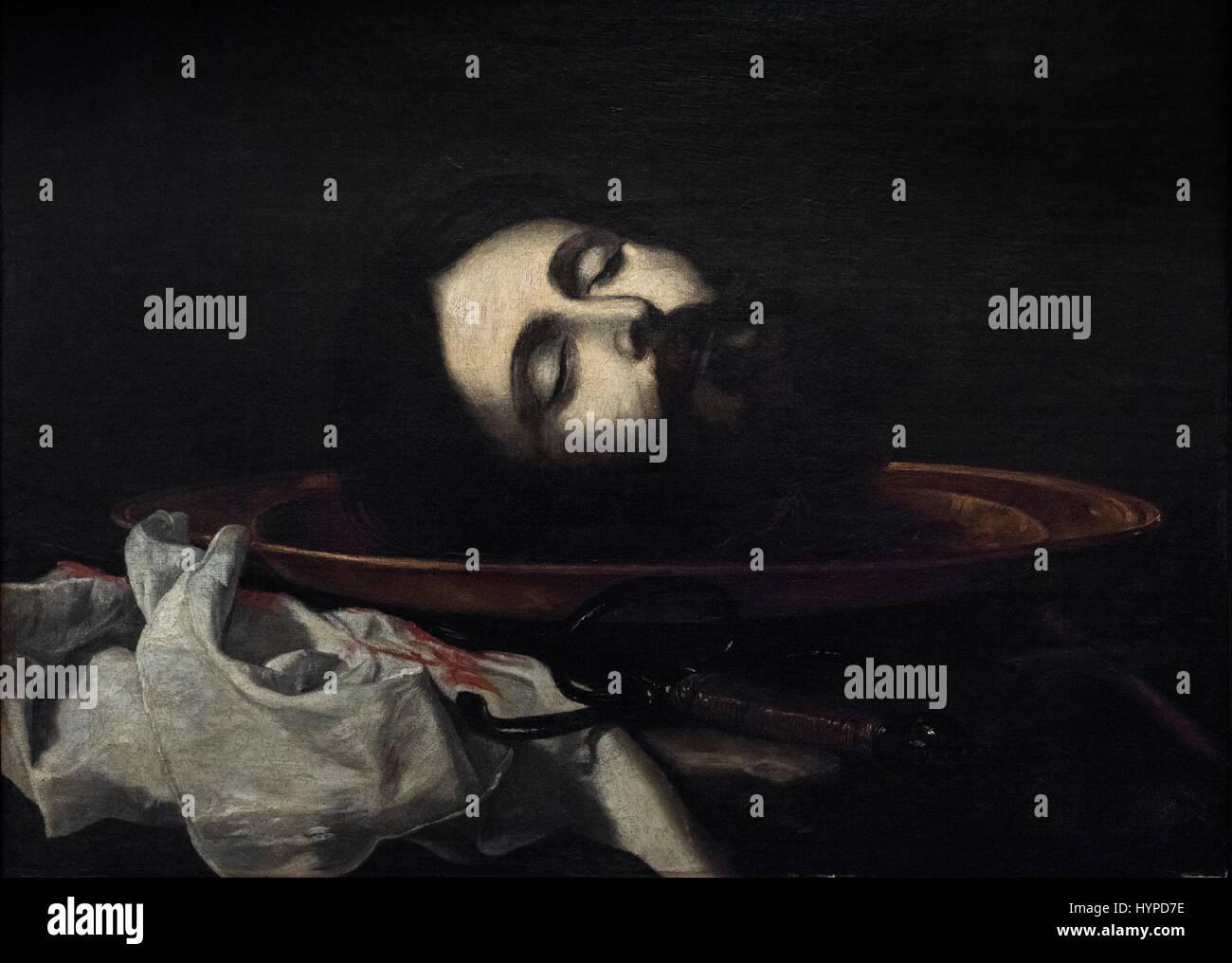 Jusepe de Ribera (1591-1652), Head of Saint John the Baptist, ca. 1630. Cabeza del Bautista. - Stock Image