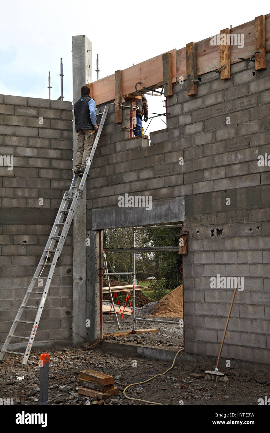France,House building. Raising of the house\'s walls. Safety on a ...