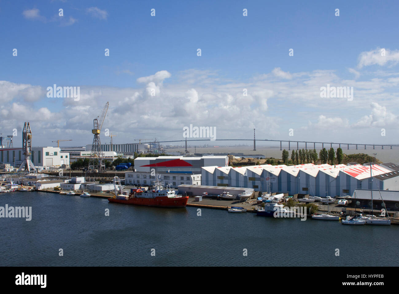France North Western France Saint Nazaire Port And Bridge At The