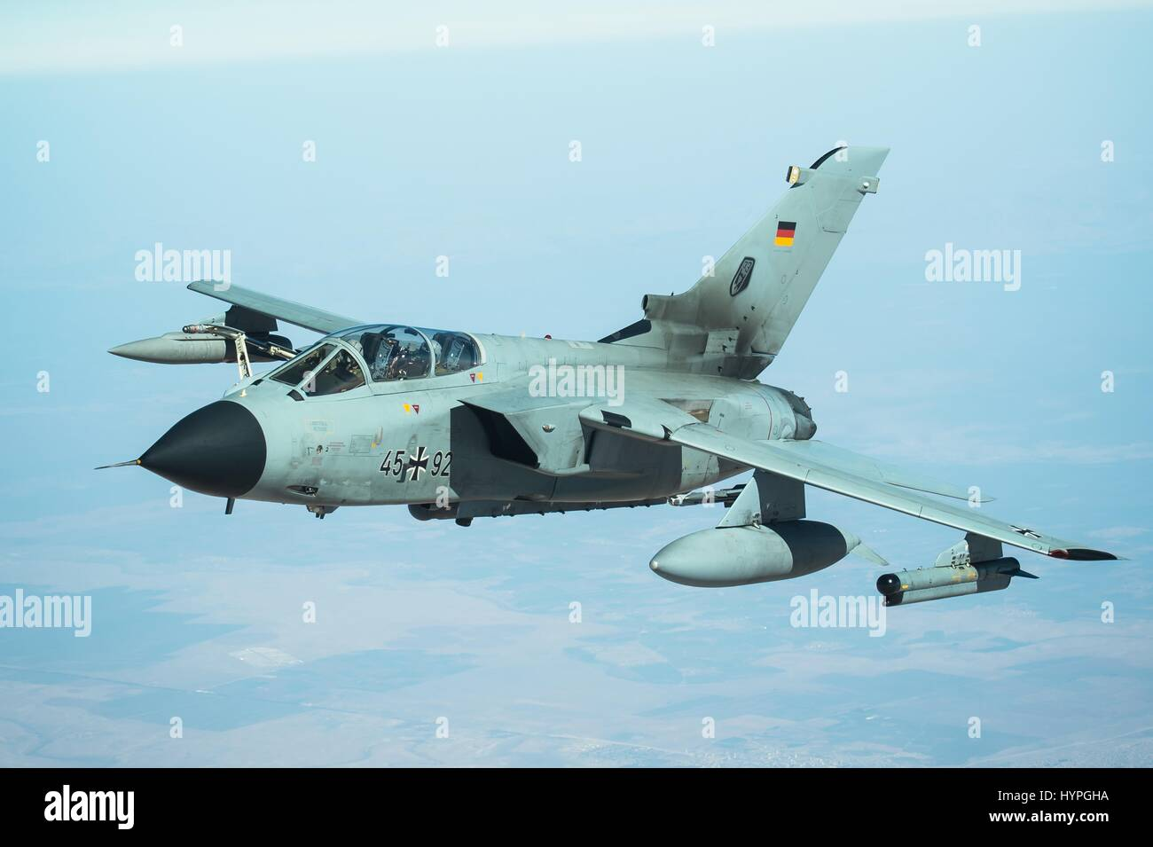 A German Air Force Tornado GR 4 attack aircraft in flight during Operation Inherent Resolve fighting the Islamic - Stock Image