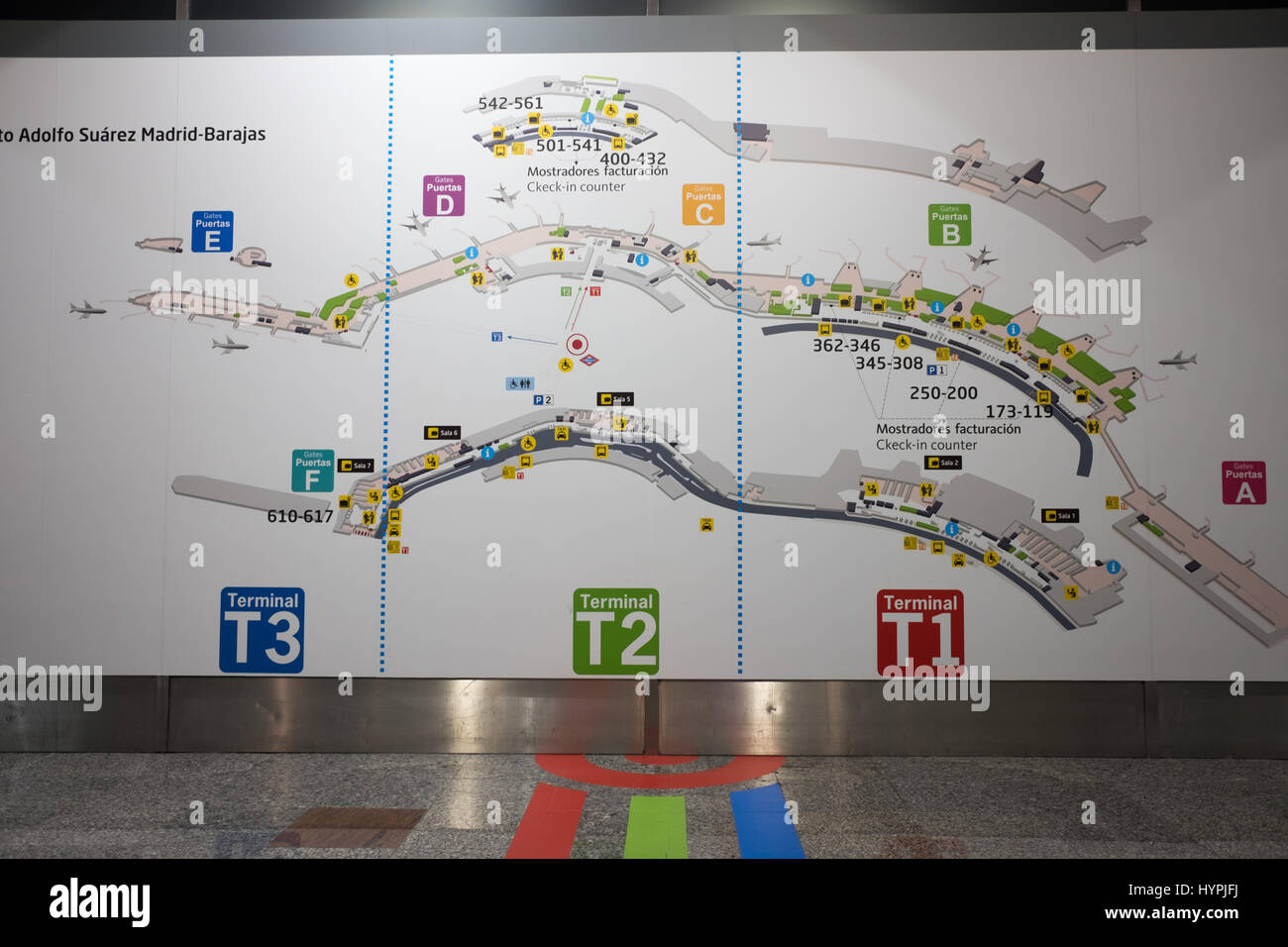 map of madrid airport showing terminal directions - Stock Image