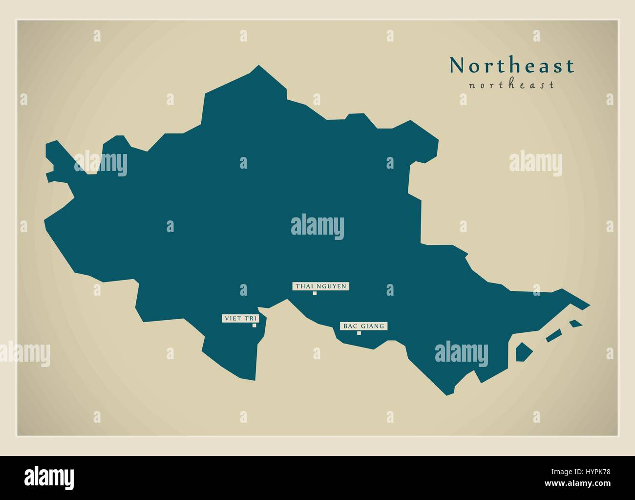 Modern Map - Northeast VN - Stock Vector