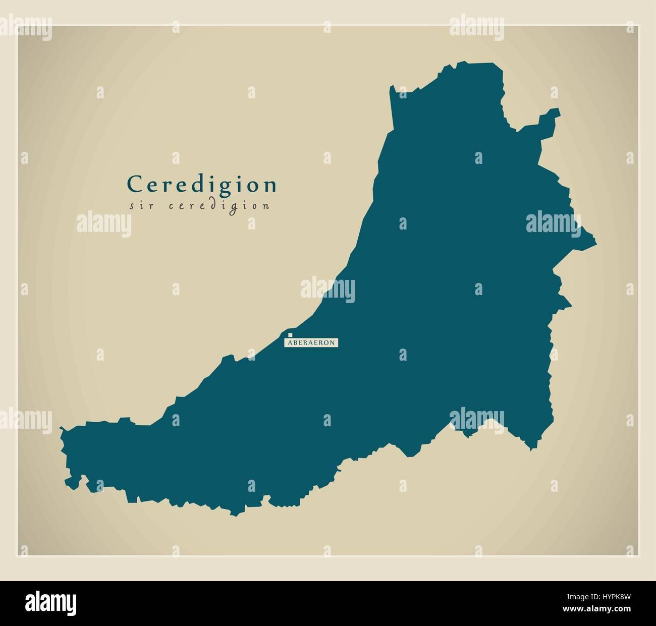 Modern Map - Ceredigion Wales UK - Stock Image