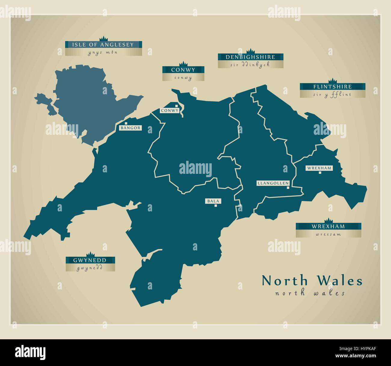 Detailed Map Of Wales Uk.Modern Map North Wales Uk Stock Vector Art Illustration Vector