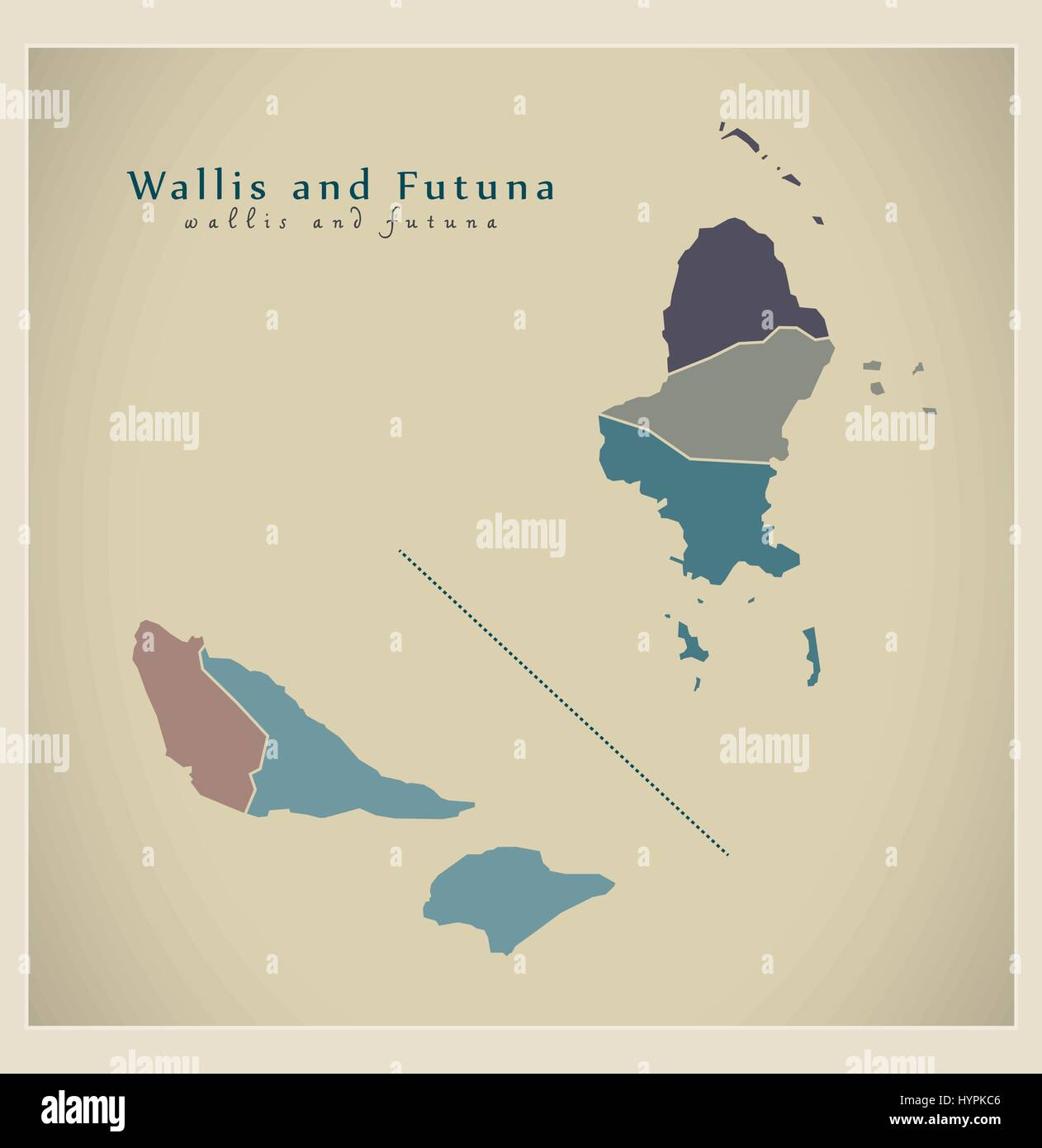 Modern Map - Wallis and Futuna colored WF - Stock Image