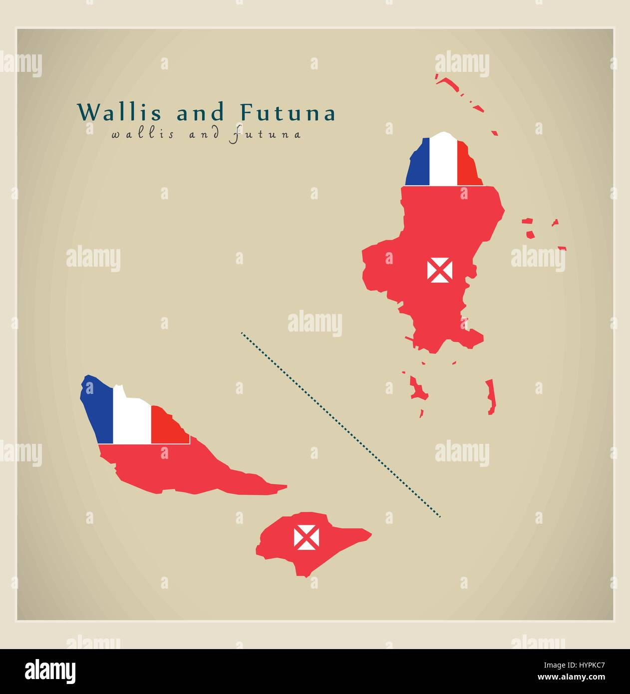 Modern Map - Wallis and Futuna flag colored WF - Stock Image