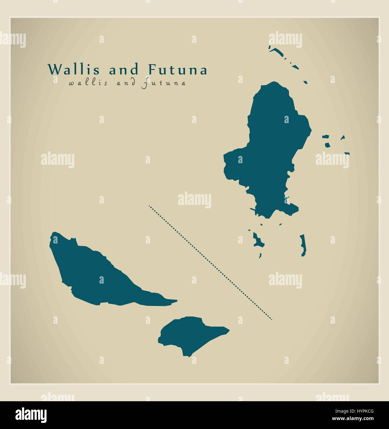 Modern Map - Wallis and Futuna WF - Stock Image