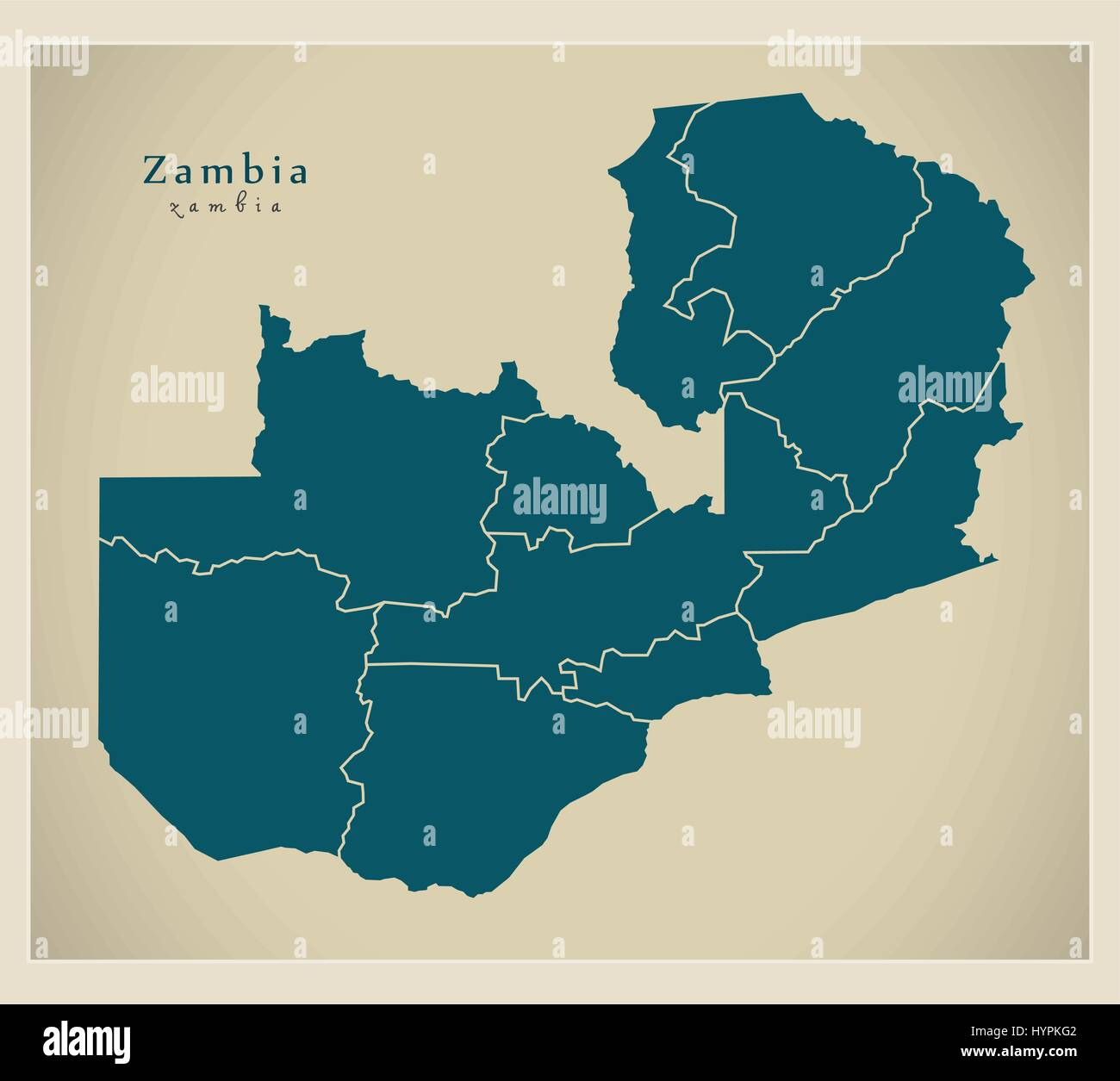 Modern Map - Zambia with provinces ZM - Stock Image