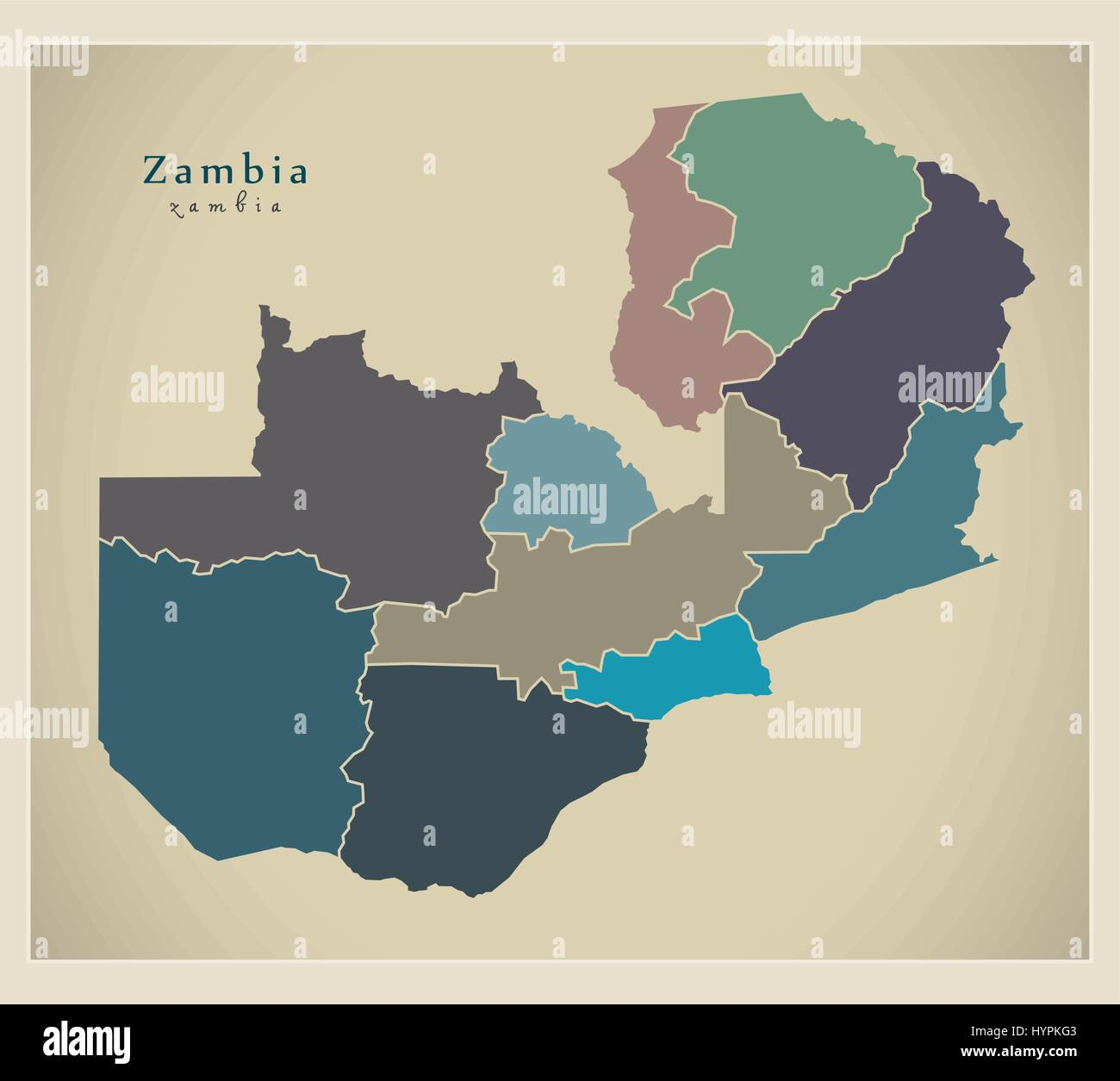 Modern Map - Zambia with provinces colored ZM Stock Vector Art ...
