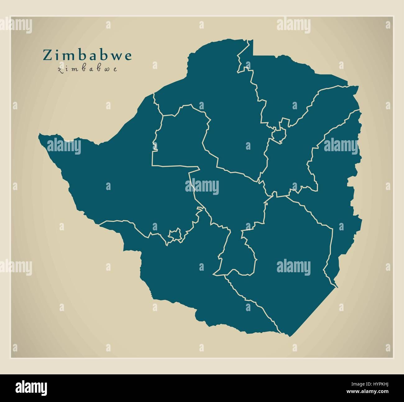Modern Map - Zimbabwe with provinces ZW - Stock Image