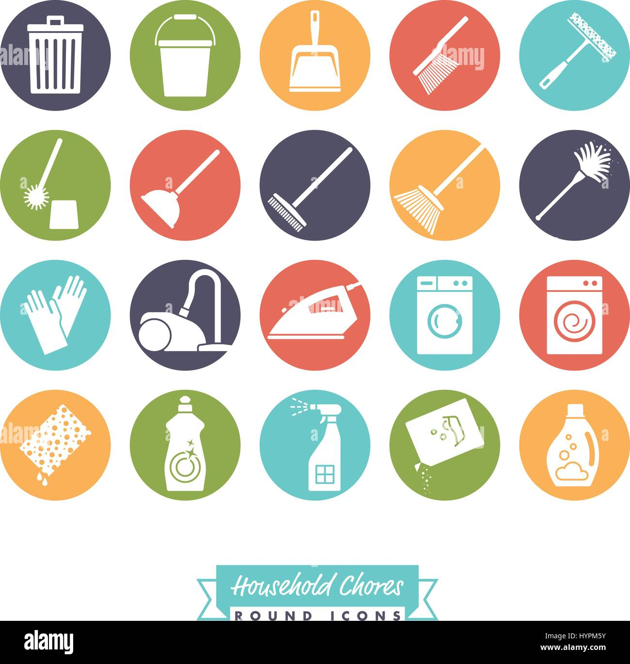 Collection Of 20 Household Chores Round Negative Color