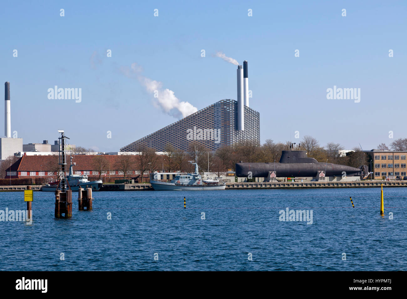 The Holmen old warship exbibition and the Amager Slope waste-to-energy power plant at Amager Ressource Center, Amagerværket, - Stock Image