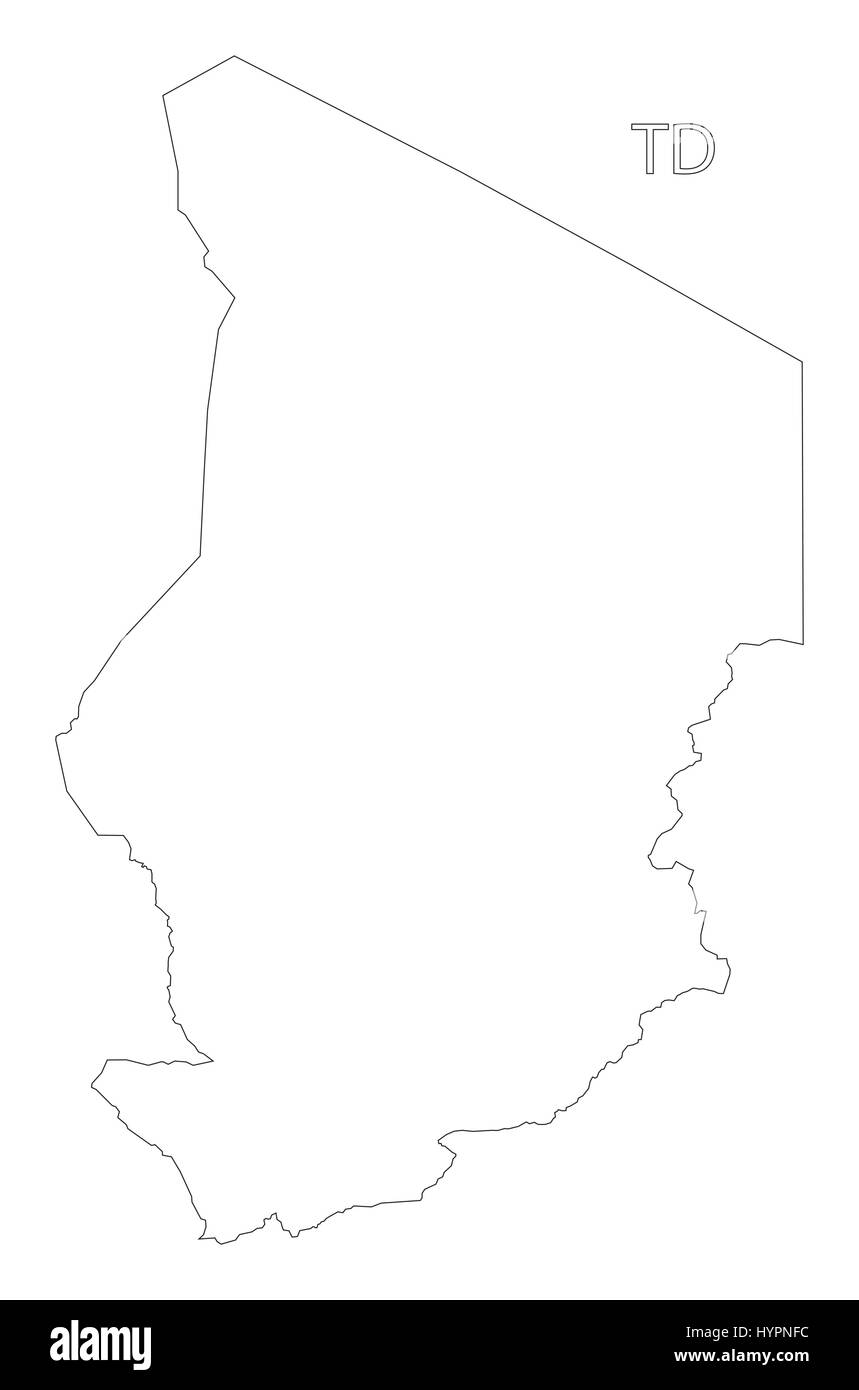 Chad outline silhouette map illustration - Stock Vector
