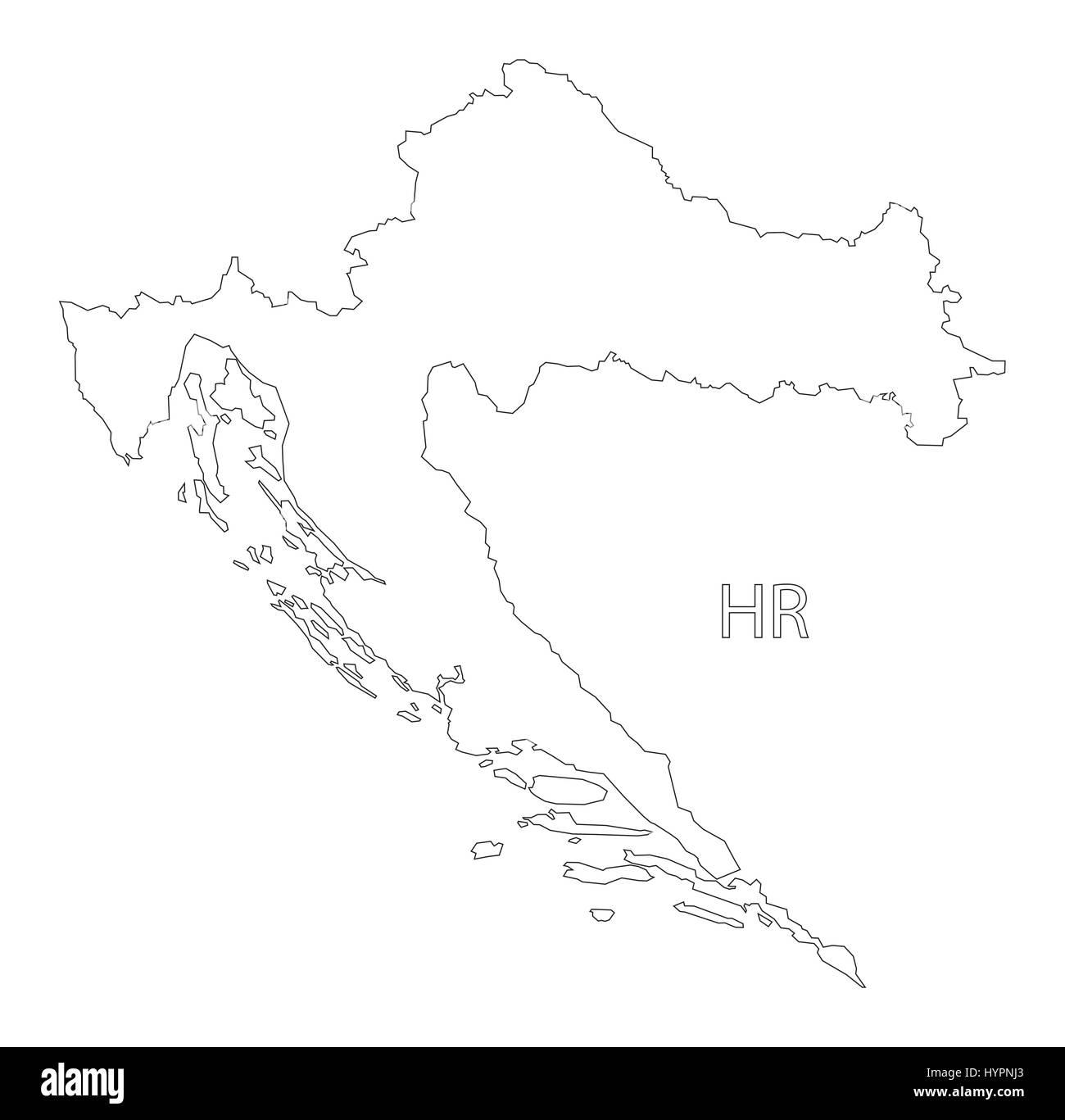Croatia outline silhouette map illustration Stock Vector Art ...
