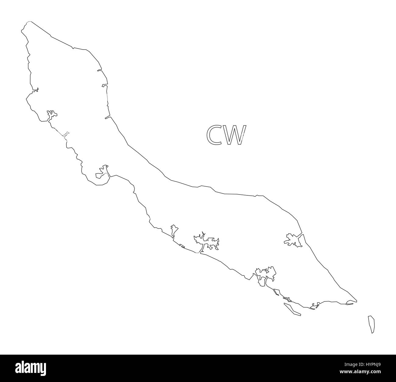 Curacao outline silhouette map illustration - Stock Vector