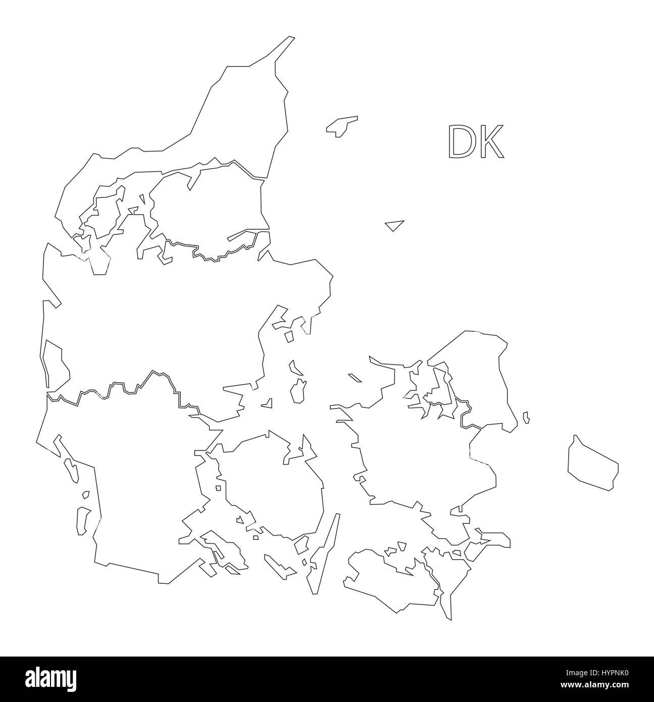 Denmark outline silhouette map illustration with regions - Stock Vector