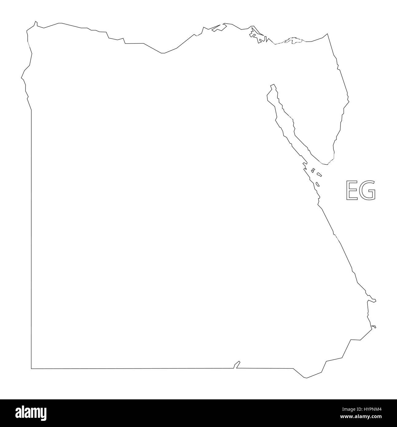 Egypt outline silhouette map illustration - Stock Vector
