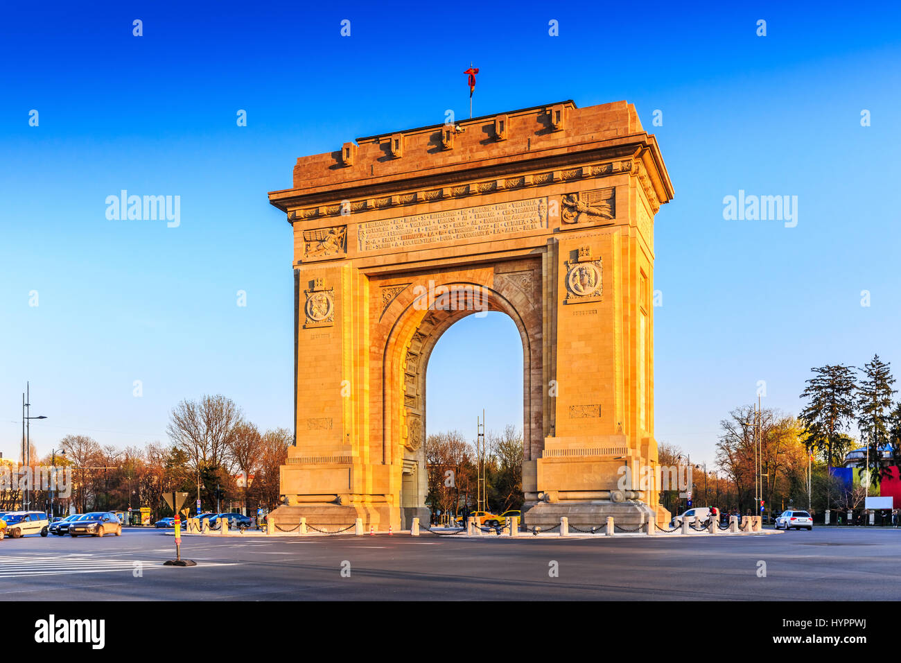 Bucharest, Romania. Arcul de Triumf ( Arch of Triumph ) is a triumphal arch located in the northern part of Bucharest, Stock Photo